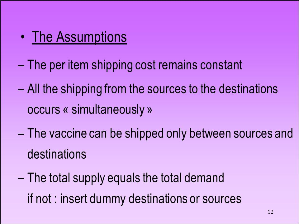 12 The Assumptions –The per item shipping cost remains constant –All the shipping from the sources to the destinations occurs « simultaneously » –The vaccine can be shipped only between sources and destinations –The total supply equals the total demand if not : insert dummy destinations or sources