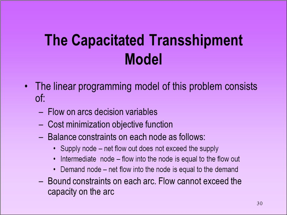 30 The linear programming model of this problem consists of: –Flow on arcs decision variables –Cost minimization objective function –Balance constraints on each node as follows: Supply node – net flow out does not exceed the supply Intermediate node – flow into the node is equal to the flow out Demand node – net flow into the node is equal to the demand –Bound constraints on each arc.