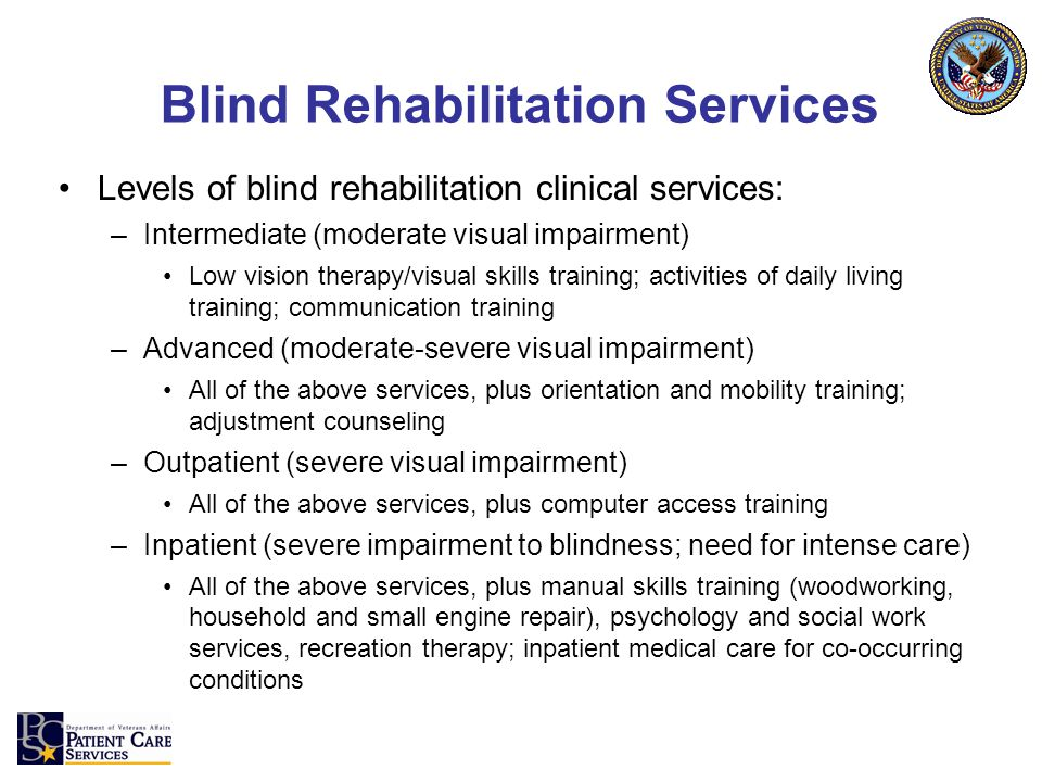 Levels of blind rehabilitation clinical services: –Intermediate (moderate visual impairment) Low vision therapy/visual skills training; activities of