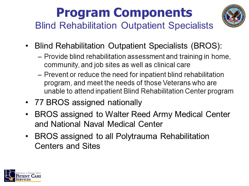 Blind Rehabilitation Outpatient Specialists (BROS): –Provide blind rehabilitation assessment and training in home, community, and job sites as well as clinical care –Prevent or reduce the need for inpatient blind rehabilitation program, and meet the needs of those Veterans who are unable to attend inpatient Blind Rehabilitation Center program 77 BROS assigned nationally BROS assigned to Walter Reed Army Medical Center and National Naval Medical Center BROS assigned to all Polytrauma Rehabilitation Centers and Sites Program Components Blind Rehabilitation Outpatient Specialists