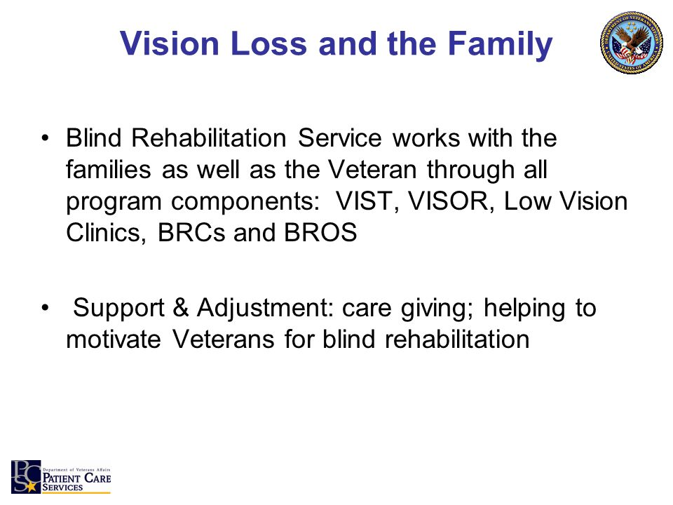 Vision Loss and the Family Blind Rehabilitation Service works with the families as well as the Veteran through all program components: VIST, VISOR, Low Vision Clinics, BRCs and BROS Support & Adjustment: care giving; helping to motivate Veterans for blind rehabilitation