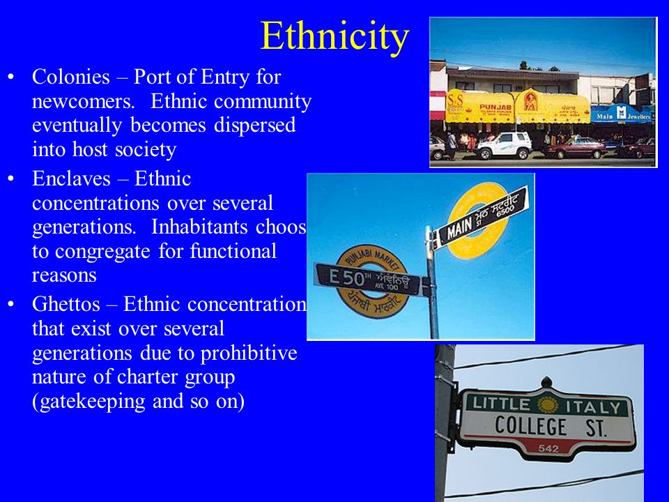 Ethnicity Colonies – Port of Entry for newcomers.