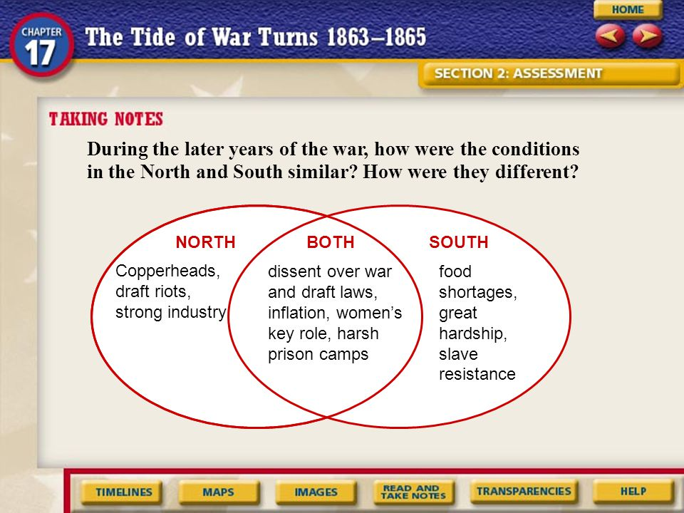 During the later years of the war, how were the conditions in the North and South similar? How were they different? NORTHSOUTHBOTH Copperheads, draft