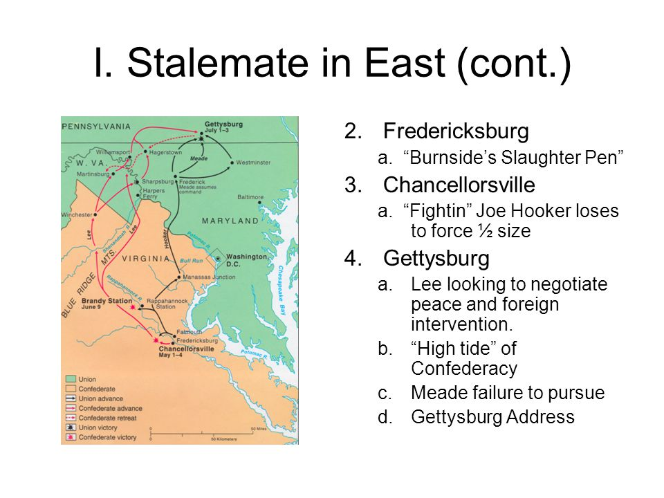 I. Stalemate in East (cont.) 2.Fredericksburg a. Burnside's Slaughter Pen 3.Chancellorsville a.