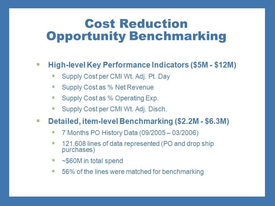 Cost Reduction Opportunity Benchmarking  High-level Key Performance Indicators ($5M - $12M)  Supply Cost per CMI Wt. Adj. Pt. Day  Supply Cost as %