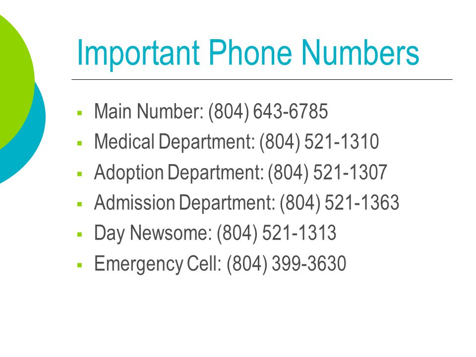 Important Phone Numbers  Main Number: (804) 643-6785  Medical Department: (804) 521-1310  Adoption Department: (804) 521-1307  Admission Departmen