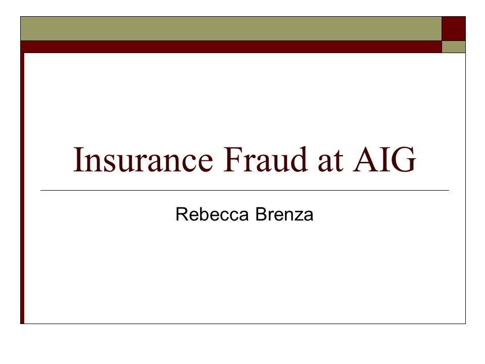 Insurance Fraud at AIG Rebecca Brenza