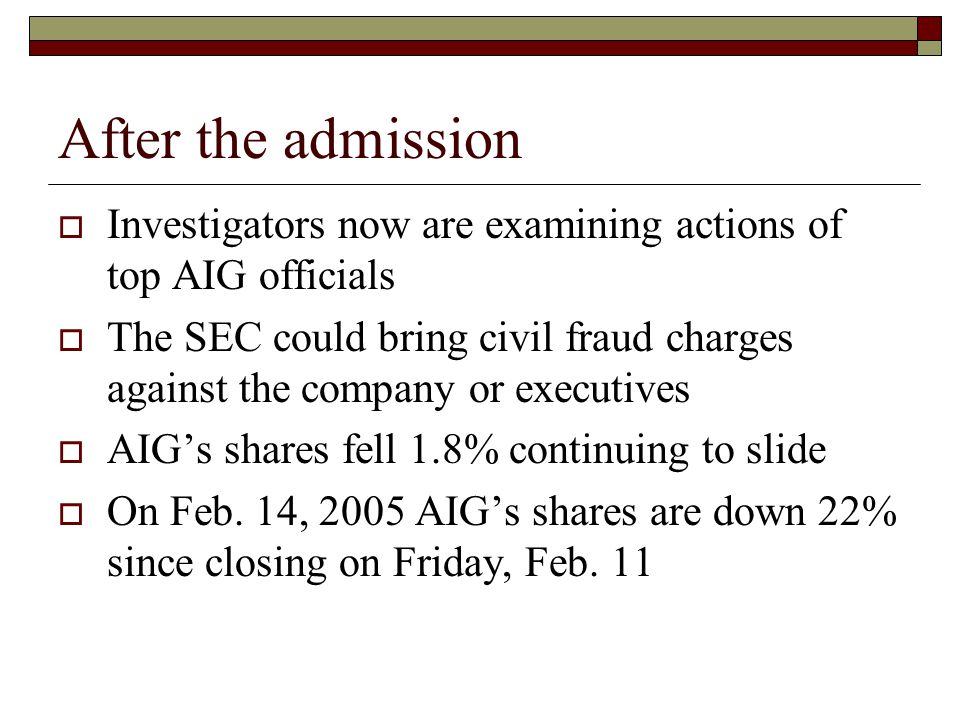 After the admission  Investigators now are examining actions of top AIG officials  The SEC could bring civil fraud charges against the company or executives  AIG's shares fell 1.8% continuing to slide  On Feb.