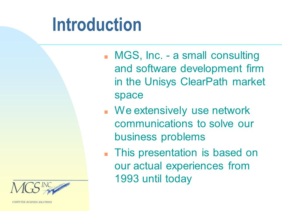 Introduction n MGS, Inc.
