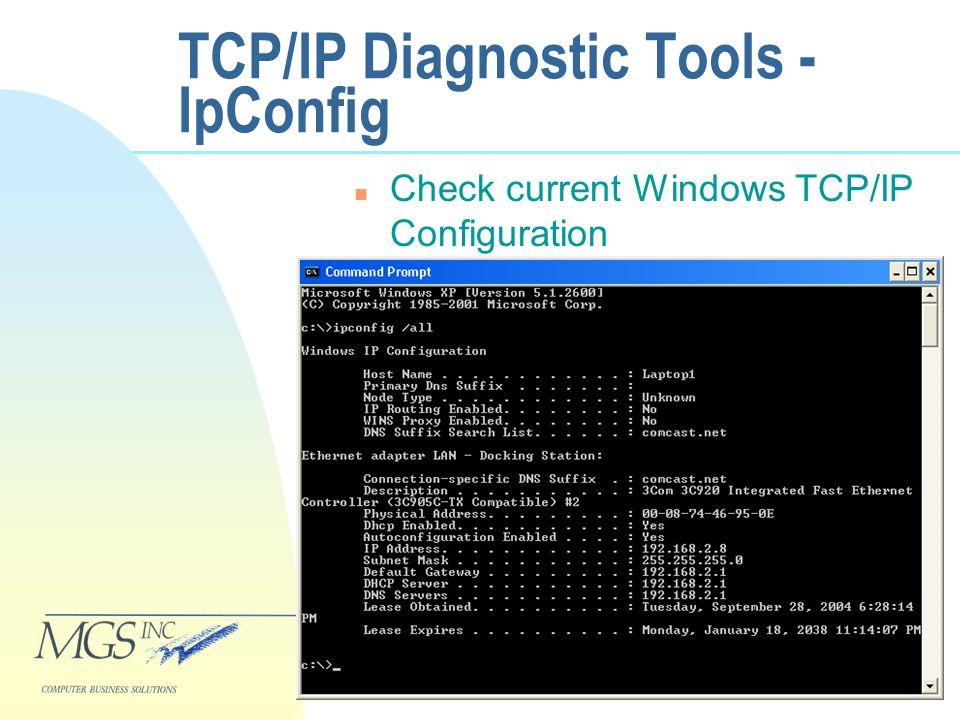 TCP/IP Diagnostic Tools - IpConfig n Check current Windows TCP/IP Configuration