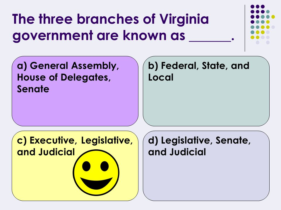 The government of Virginia is divided into ____ branches. a) 2b) 4 c) 7d) 3
