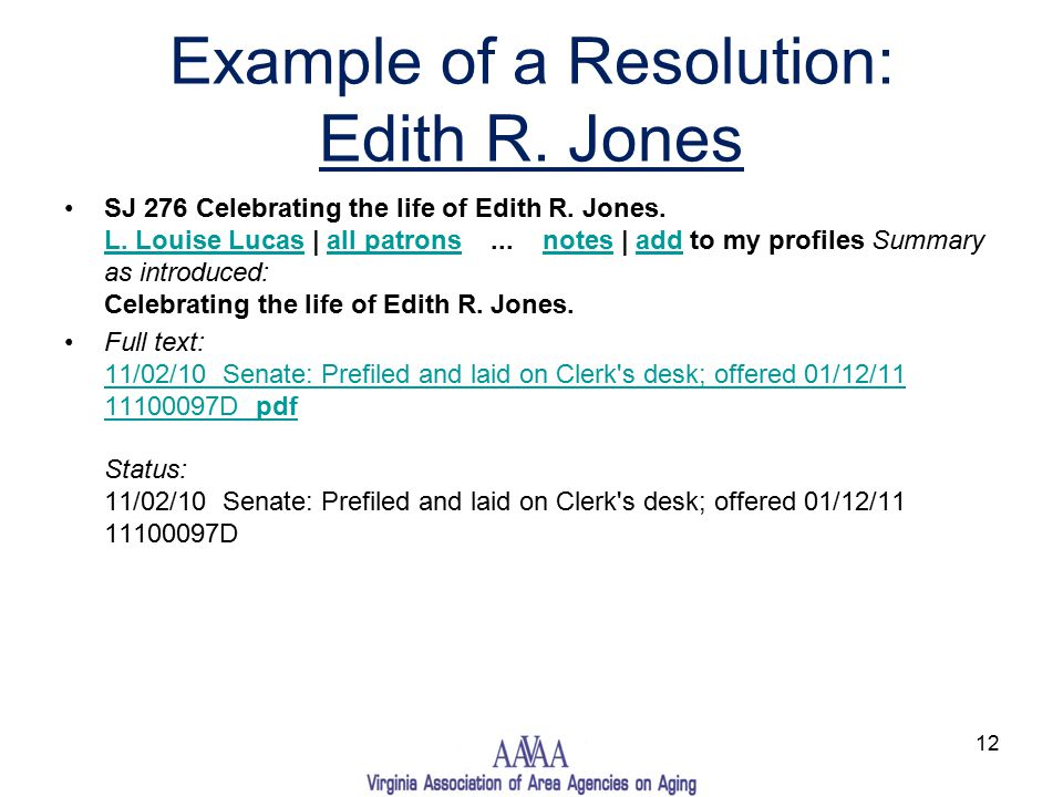 Example of a Resolution: Edith R. Jones SJ 276 Celebrating the life of Edith R.