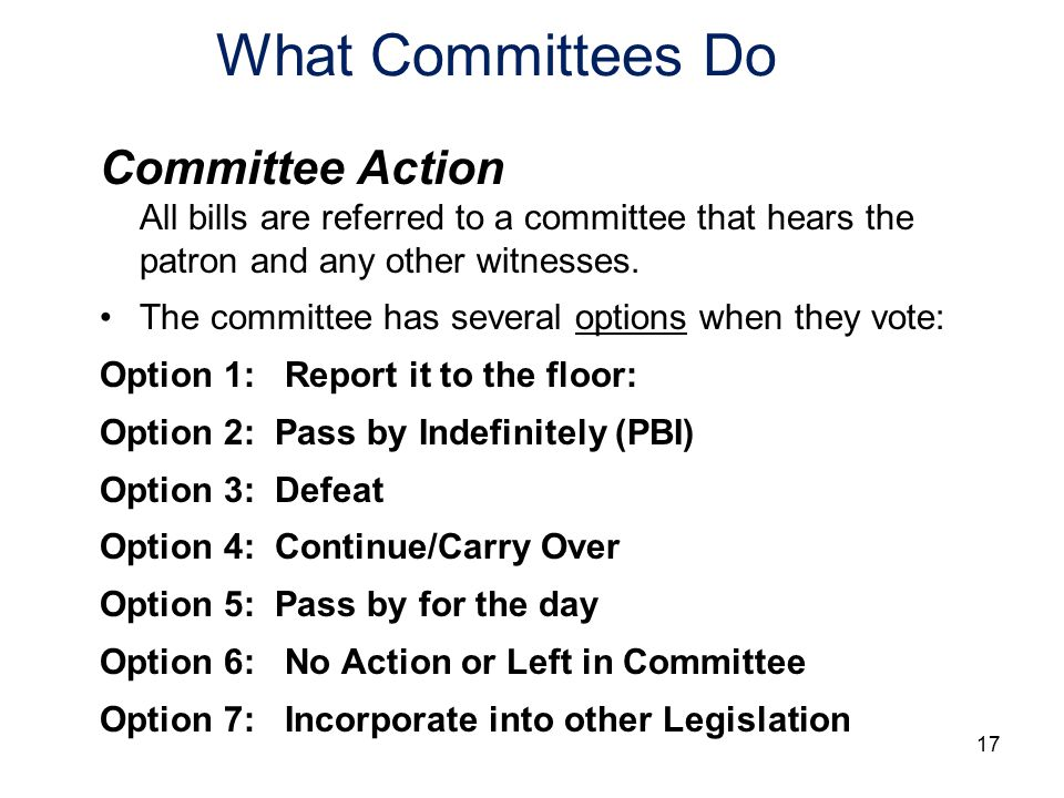 What Committees Do Committee Action All bills are referred to a committee that hears the patron and any other witnesses.