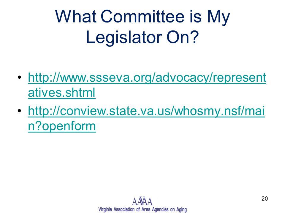 What Committee is My Legislator On.