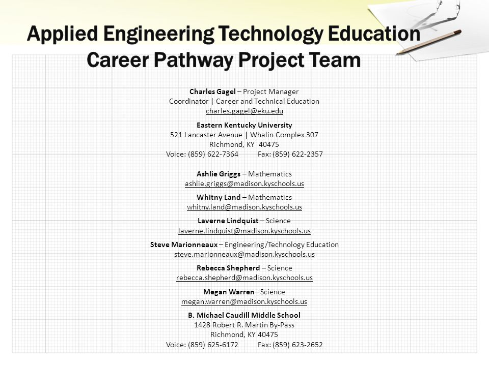 Charles Gagel – Project Manager Coordinator | Career and Technical Education charles.gagel@eku.edu Eastern Kentucky University 521 Lancaster Avenue | Whalin Complex 307 Richmond, KY 40475 Voice: (859) 622-7364 Fax: (859) 622-2357 Ashlie Griggs – Mathematics ashlie.griggs@madison.kyschools.us Whitny Land – Mathematics whitny.land@madison.kyschools.us Laverne Lindquist – Science laverne.lindquist@madison.kyschools.us Steve Marionneaux – Engineering/Technology Education steve.marionneaux@madison.kyschools.us Rebecca Shepherd – Science rebecca.shepherd@madison.kyschools.us Megan Warren– Science megan.warren@madison.kyschools.us B.