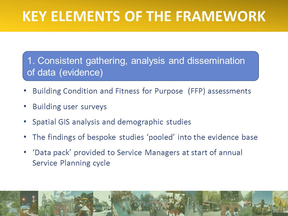 KEY ELEMENTS OF THE FRAMEWORK 1.