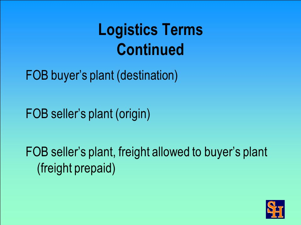Logistics Terms Bill of Lading (BOL) – The basic document used in purchasing transportation services. It serves as the receipt and documents commoditi