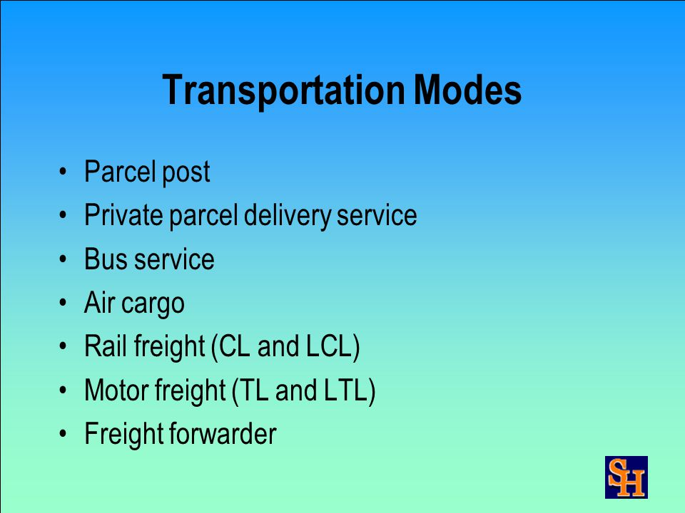 Mode, Carrier, Route Selection Required delivery date Cost of transportation Reliability & service quality Shipment size Time in transit Type of item