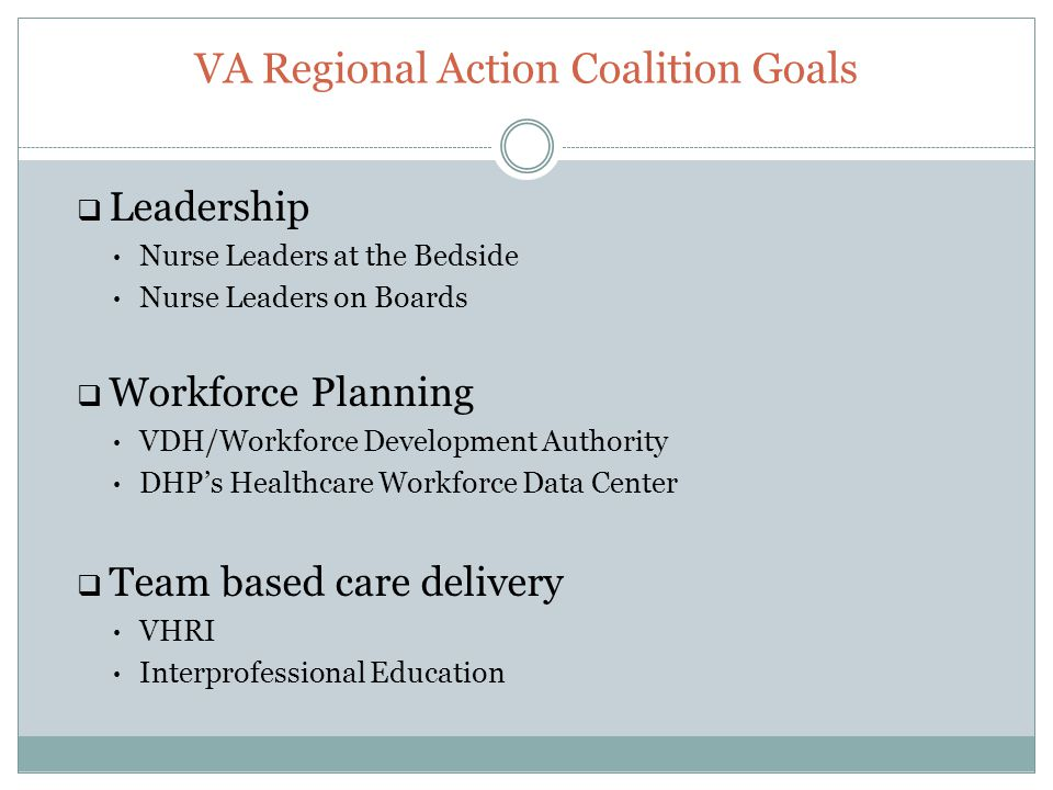VA Regional Action Coalition Goals  Leadership Nurse Leaders at the Bedside Nurse Leaders on Boards  Workforce Planning VDH/Workforce Development Authority DHP's Healthcare Workforce Data Center  Team based care delivery VHRI Interprofessional Education