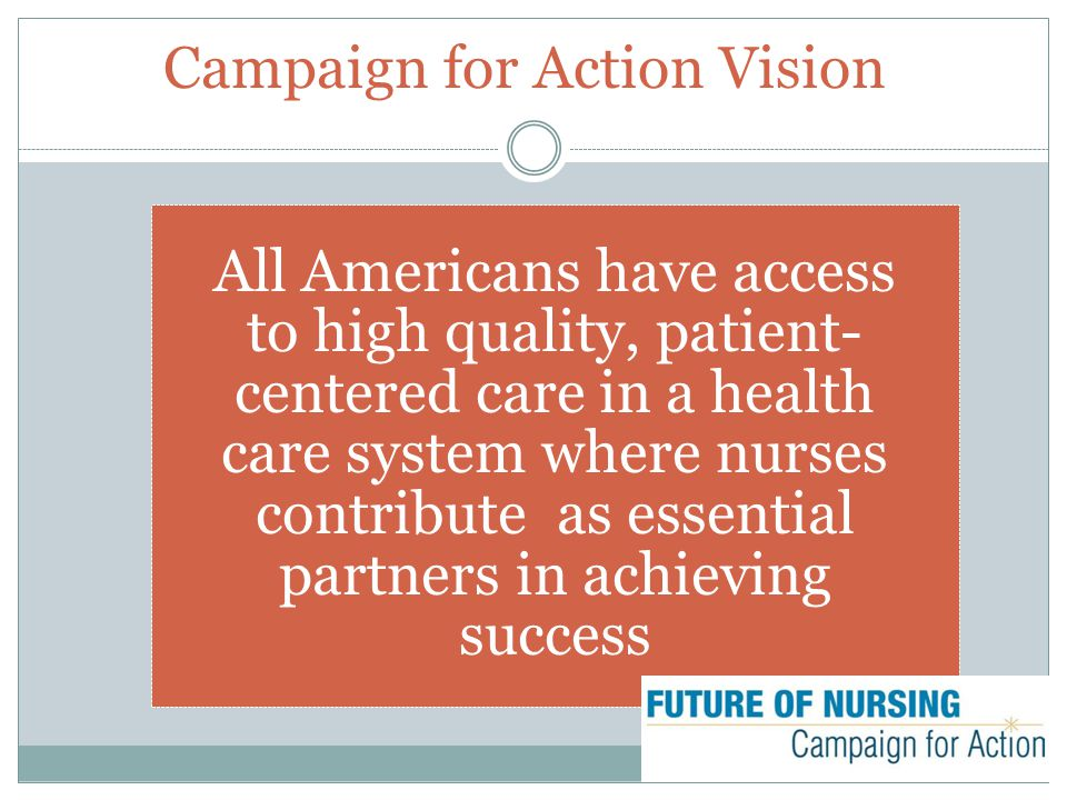 Campaign for Action Vision All Americans have access to high quality, patient- centered care in a health care system where nurses contribute as essential partners in achieving success