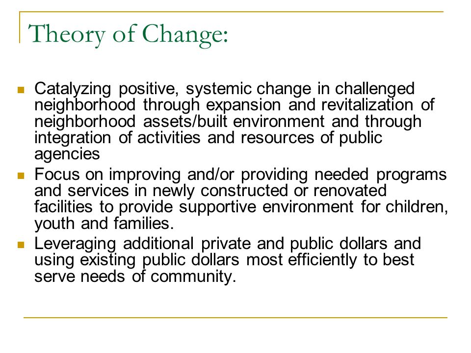 Theory of Change: Catalyzing positive, systemic change in challenged neighborhood through expansion and revitalization of neighborhood assets/built en