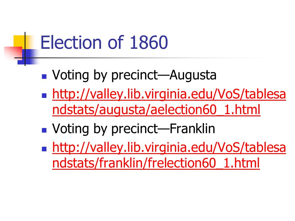 Election of 1860 Voting by precinct—Augusta http://valley.lib.virginia.edu/VoS/tablesa ndstats/augusta/aelection60_1.html http://valley.lib.virginia.edu/VoS/tablesa ndstats/augusta/aelection60_1.html Voting by precinct—Franklin http://valley.lib.virginia.edu/VoS/tablesa ndstats/franklin/frelection60_1.html http://valley.lib.virginia.edu/VoS/tablesa ndstats/franklin/frelection60_1.html