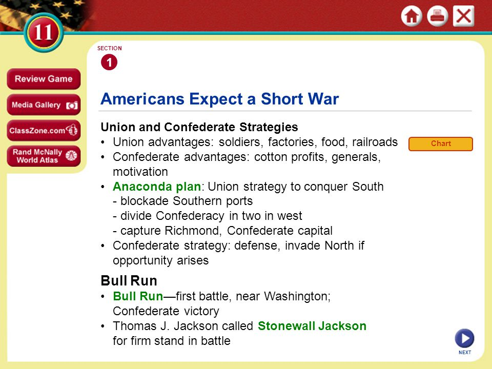 Americans Expect a Short War Union and Confederate Strategies Union advantages: soldiers, factories, food, railroads Confederate advantages: cotton profits, generals, motivation Anaconda plan: Union strategy to conquer South - blockade Southern ports - divide Confederacy in two in west - capture Richmond, Confederate capital Confederate strategy: defense, invade North if opportunity arises 1 SECTION NEXT Bull Run Bull Run—first battle, near Washington; Confederate victory Thomas J.