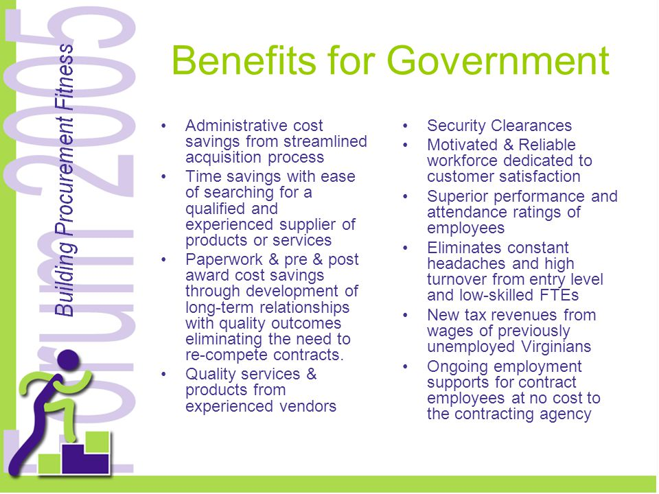Benefits for Government Administrative cost savings from streamlined acquisition process Time savings with ease of searching for a qualified and experienced supplier of products or services Paperwork & pre & post award cost savings through development of long-term relationships with quality outcomes eliminating the need to re-compete contracts.