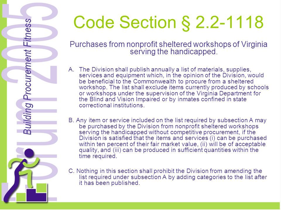 Code Section § 2.2-1118 Purchases from nonprofit sheltered workshops of Virginia serving the handicapped.