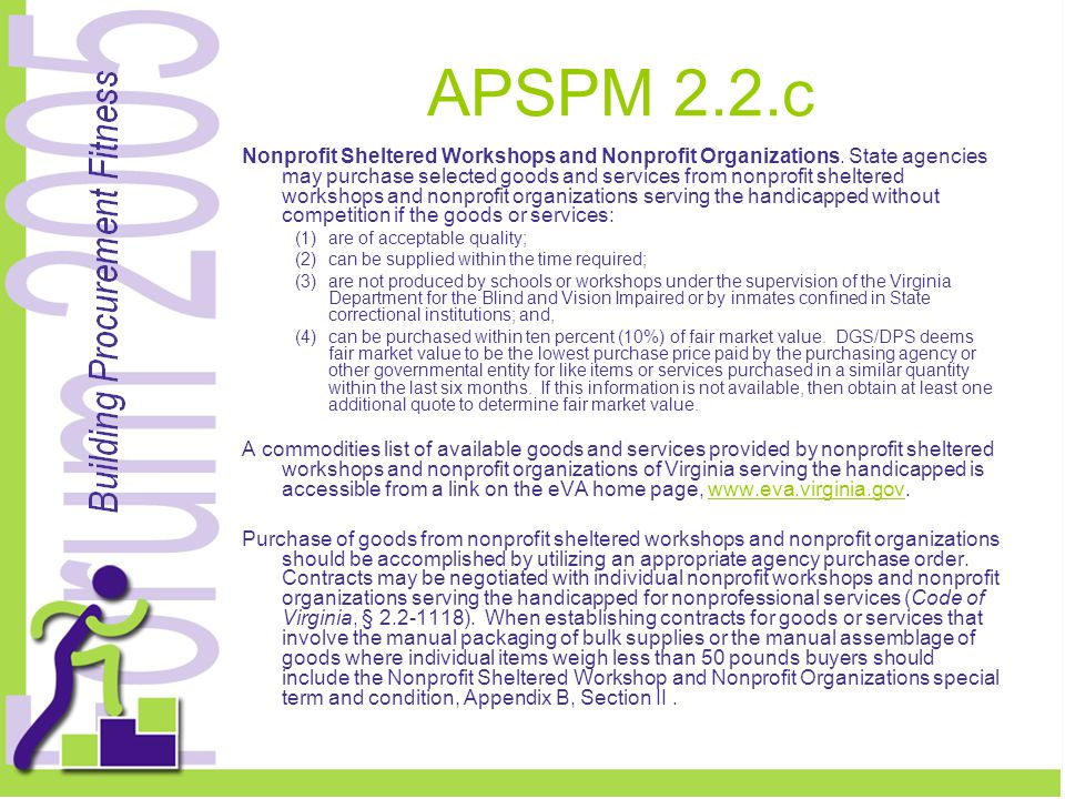 APSPM 2.2.c Nonprofit Sheltered Workshops and Nonprofit Organizations.