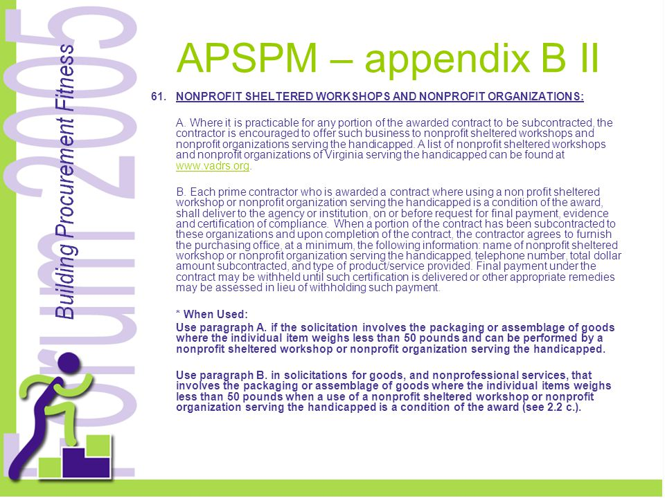 APSPM – appendix B II 61.NONPROFIT SHELTERED WORKSHOPS AND NONPROFIT ORGANIZATIONS: A.