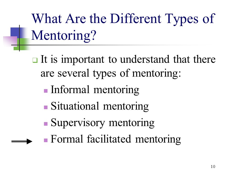 10 What Are the Different Types of Mentoring?  It is important to understand that there are several types of mentoring: Informal mentoring Situationa