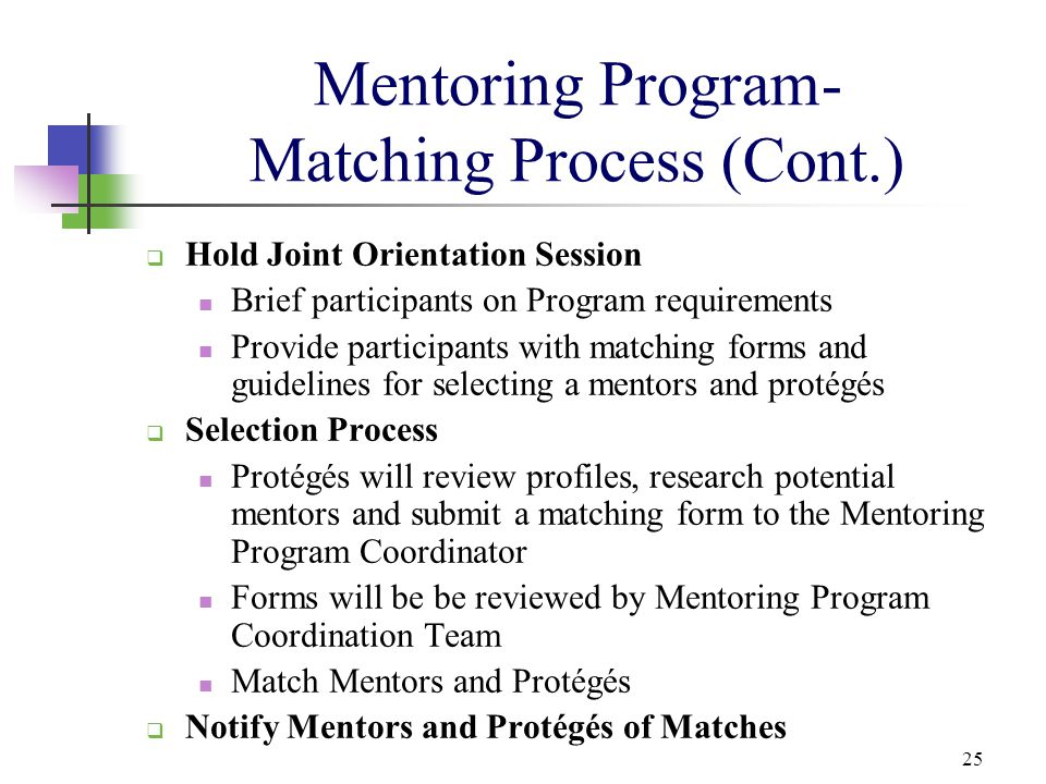 25 Mentoring Program- Matching Process (Cont.)  Hold Joint Orientation Session Brief participants on Program requirements Provide participants with m