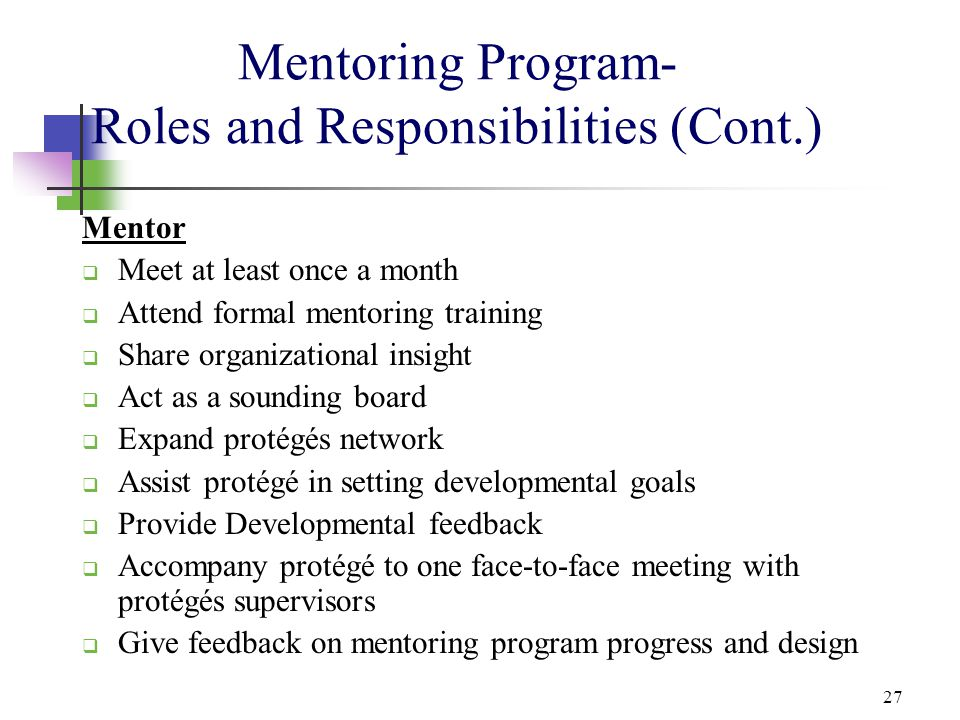 27 Mentoring Program- Roles and Responsibilities (Cont.) Mentor  Meet at least once a month  Attend formal mentoring training  Share organizational