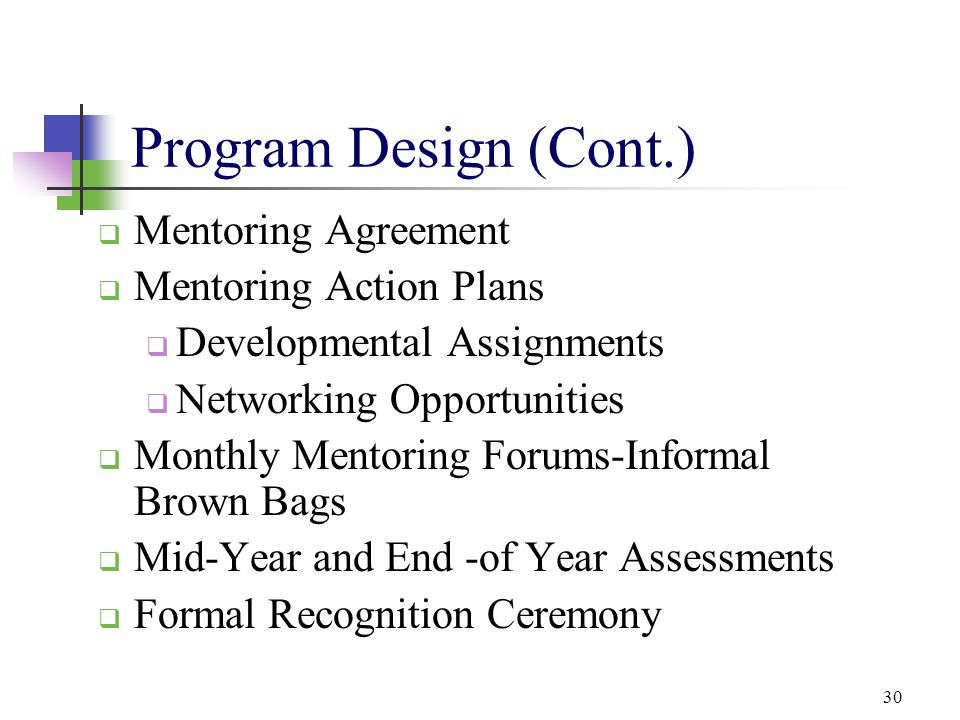 30 Program Design (Cont.)  Mentoring Agreement  Mentoring Action Plans  Developmental Assignments  Networking Opportunities  Monthly Mentoring Fo
