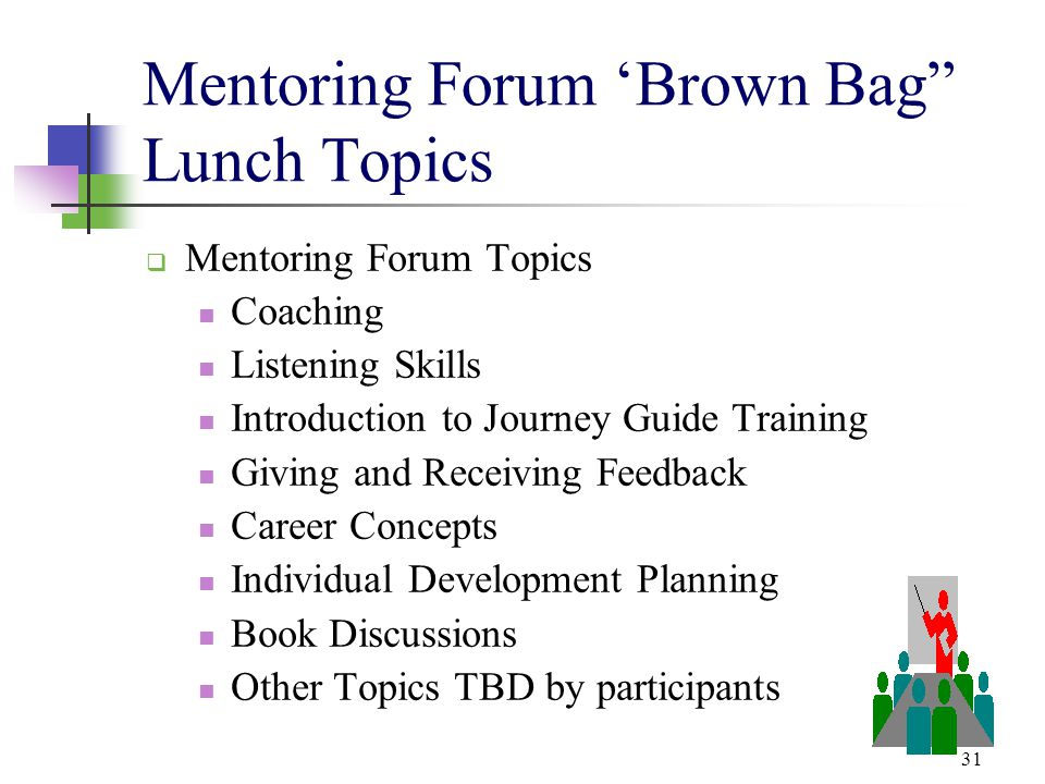 """31 Mentoring Forum 'Brown Bag"""" Lunch Topics  Mentoring Forum Topics Coaching Listening Skills Introduction to Journey Guide Training Giving and Recei"""