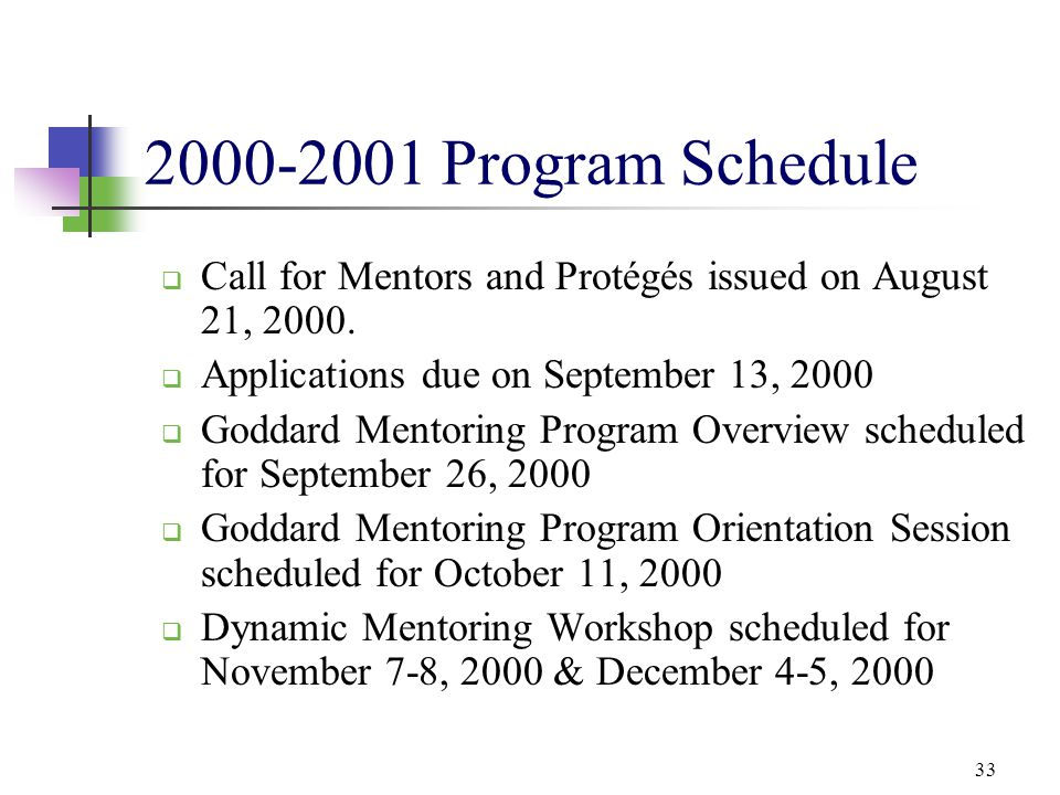 33 2000-2001 Program Schedule  Call for Mentors and Protégés issued on August 21, 2000.  Applications due on September 13, 2000  Goddard Mentoring