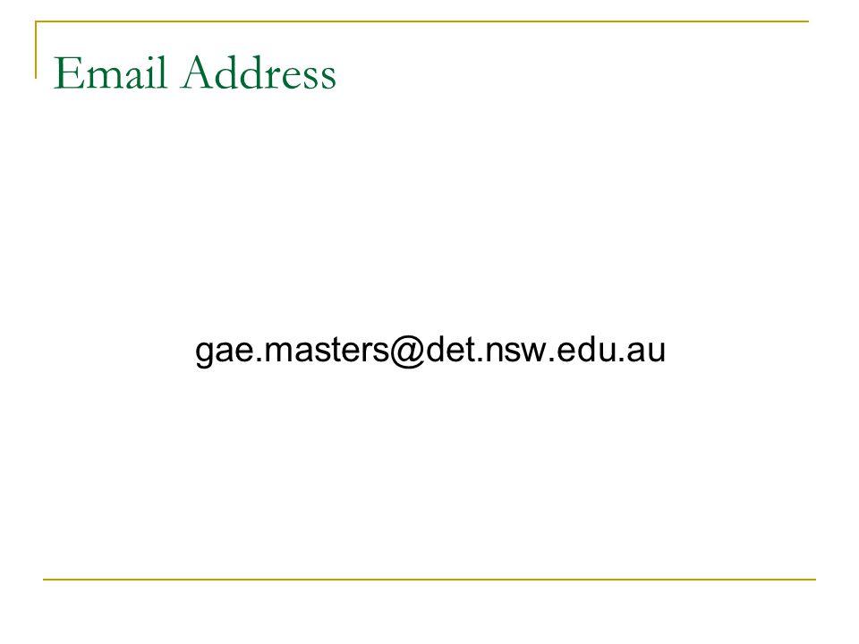 Email Address gae.masters@det.nsw.edu.au