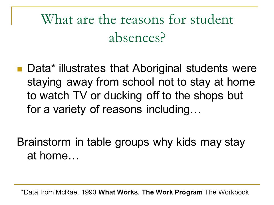 What are the reasons for student absences.