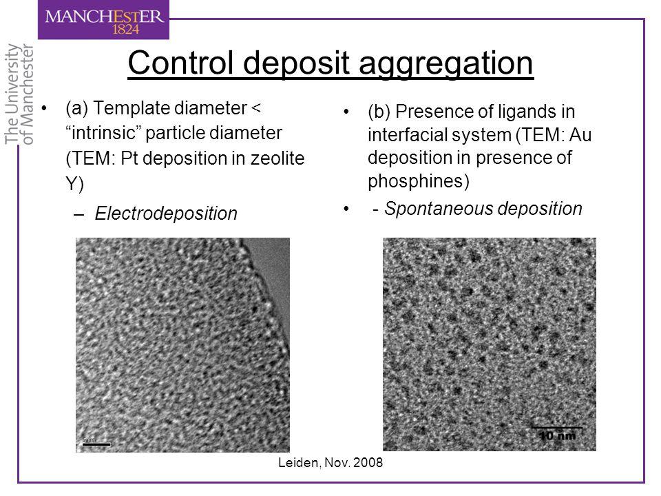 "Leiden, Nov. 2008 Control deposit aggregation (a) Template diameter < ""intrinsic"" particle diameter (TEM: Pt deposition in zeolite Y) –Electrodepositi"