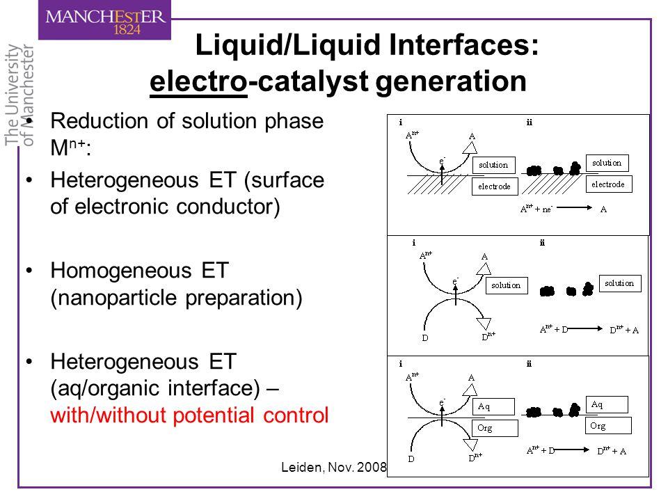 Leiden, Nov. 2008 Liquid/Liquid Interfaces: electro-catalyst generation Reduction of solution phase M n+ : Heterogeneous ET (surface of electronic con