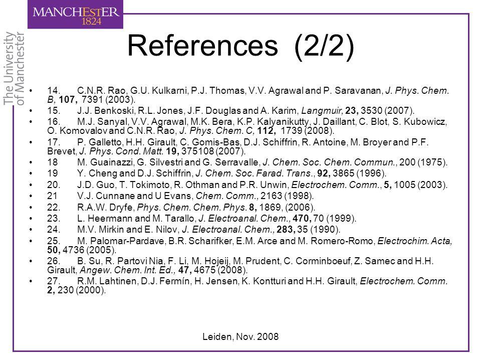 Leiden, Nov. 2008 References (2/2) 14.C.N.R. Rao, G.U. Kulkarni, P.J. Thomas, V.V. Agrawal and P. Saravanan, J. Phys. Chem. B, 107, 7391 (2003). 15.J.