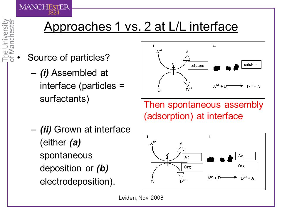 Leiden, Nov. 2008 Approaches 1 vs. 2 at L/L interface Source of particles? –(i) Assembled at interface (particles = surfactants) –(ii) Grown at interf