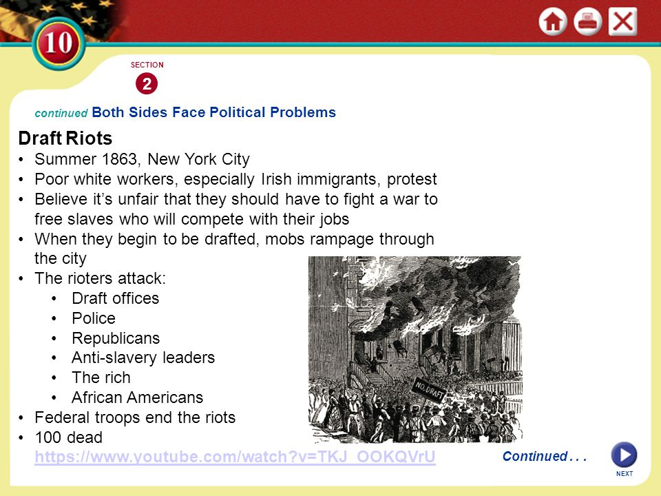 continued Both Sides Face Political Problems Draft Riots Summer 1863, New York City Poor white workers, especially Irish immigrants, protest Believe i