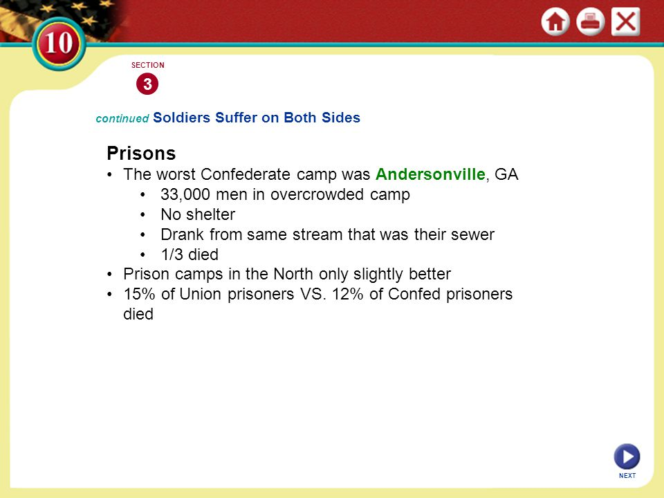 NEXT 3 SECTION continued Soldiers Suffer on Both Sides Prisons The worst Confederate camp was Andersonville, GA 33,000 men in overcrowded camp No shel