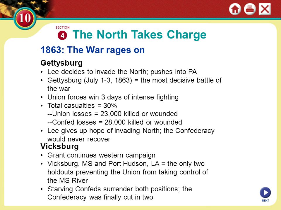NEXT 1863: The War rages on Gettysburg Lee decides to invade the North; pushes into PA Gettysburg (July 1-3, 1863) = the most decisive battle of the w