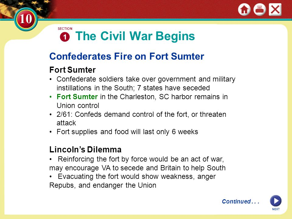 Confederates Fire on Fort Sumter Fort Sumter Confederate soldiers take over government and military instillations in the South; 7 states have seceded