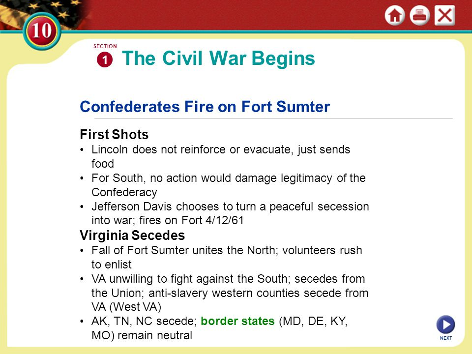 Confederates Fire on Fort Sumter First Shots Lincoln does not reinforce or evacuate, just sends food For South, no action would damage legitimacy of t