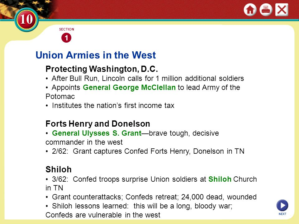 Union Armies in the West Protecting Washington, D.C. After Bull Run, Lincoln calls for 1 million additional soldiers Appoints General George McClellan