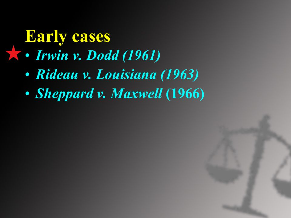 Early cases Irwin v. Dodd (1961) Rideau v. Louisiana (1963) Sheppard v. Maxwell (1966)